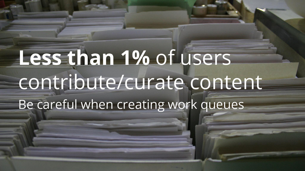 Less than 1% of users contribute/curate content...