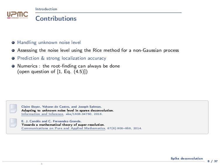 Introduction Contributions Handling unknown noi...