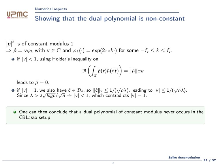 Numerical aspects Showing that the dual polynom...