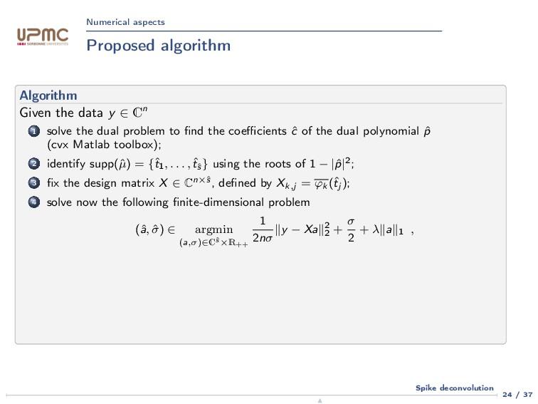 Numerical aspects Proposed algorithm Algorithm ...