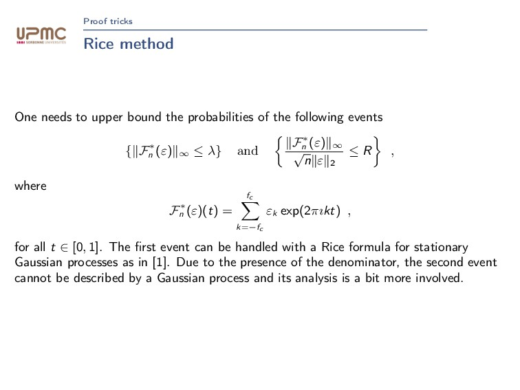 Proof tricks Rice method One needs to upper bou...
