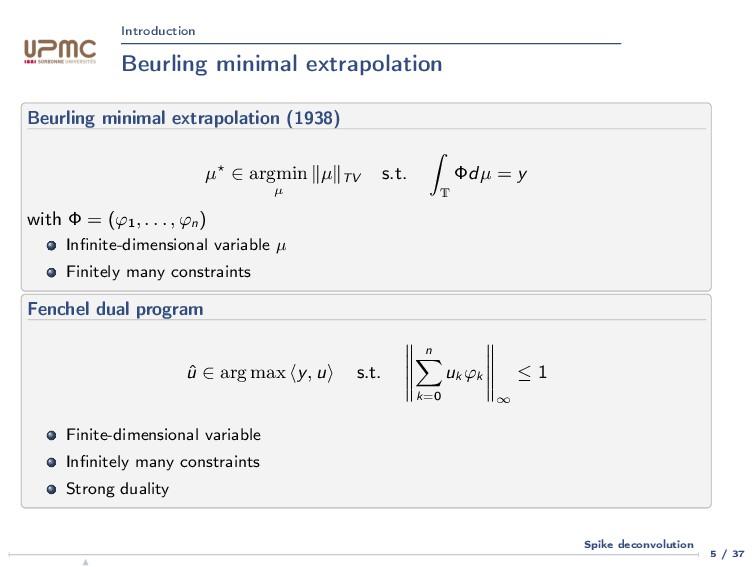 Introduction Beurling minimal extrapolation Beu...