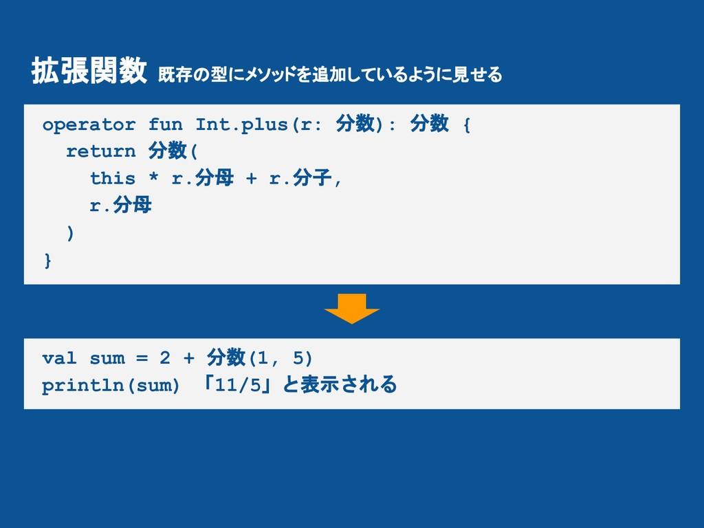 拡張関数 既存の型にメソッドを追加しているように見せる operator fun Int.pl...