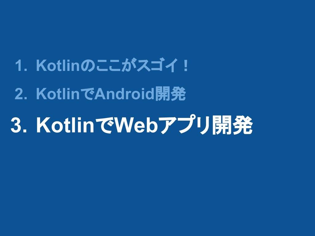 1. Kotlinのここがスゴイ! 2. KotlinでAndroid開発 3. Kotlin...