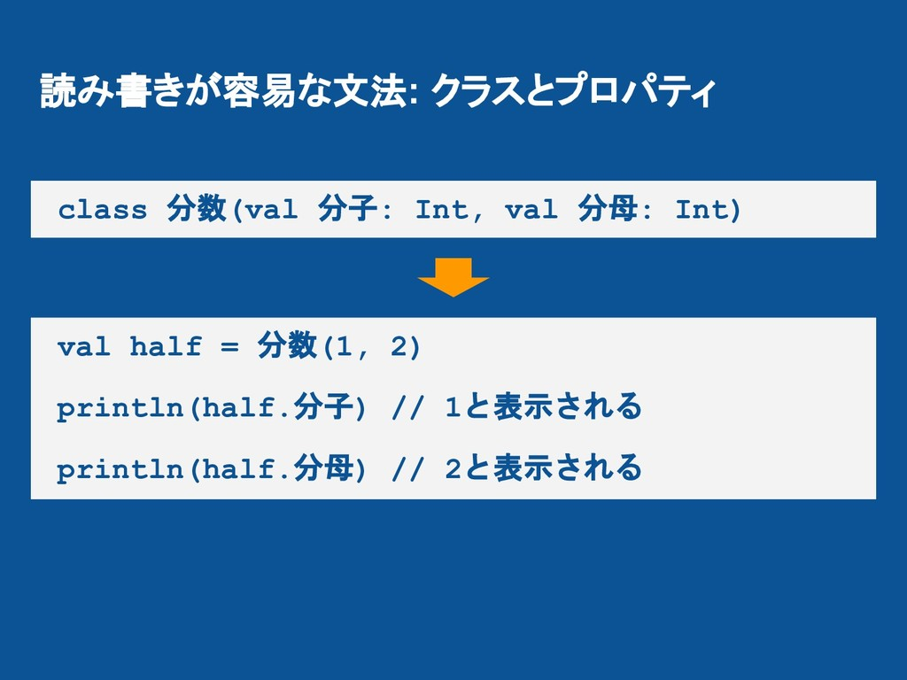 読み書きが容易な文法: クラスとプロパティ class 分数(val 分子: Int, val...
