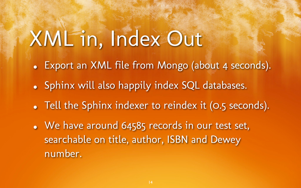 XML in, Index Out • Export an XML file from Mon...