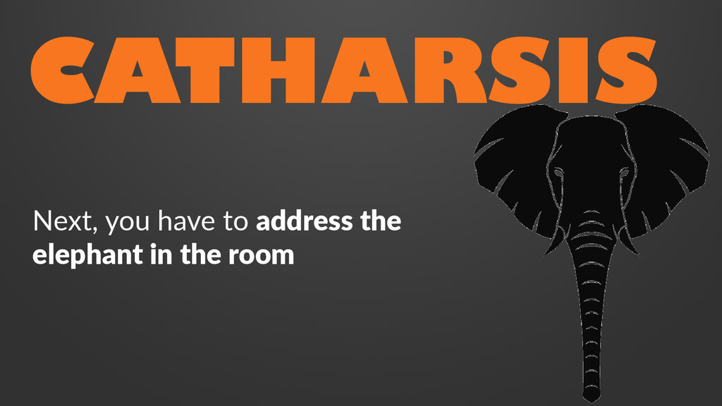 CATHARSIS Next, you have to address the elephan...
