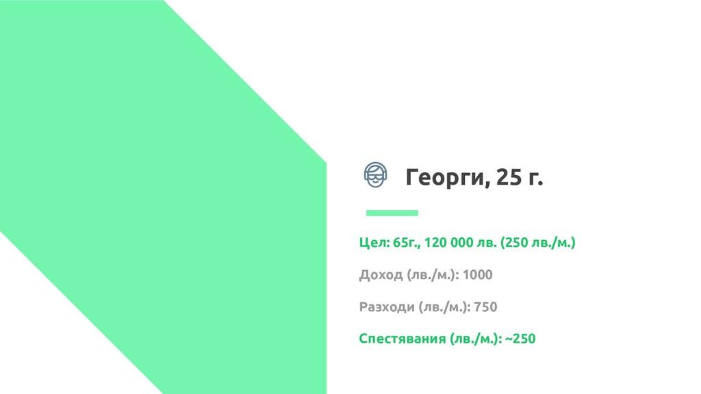 Георги, 25 г. Цел: 65г., 120 000 лв. (250 лв./м...