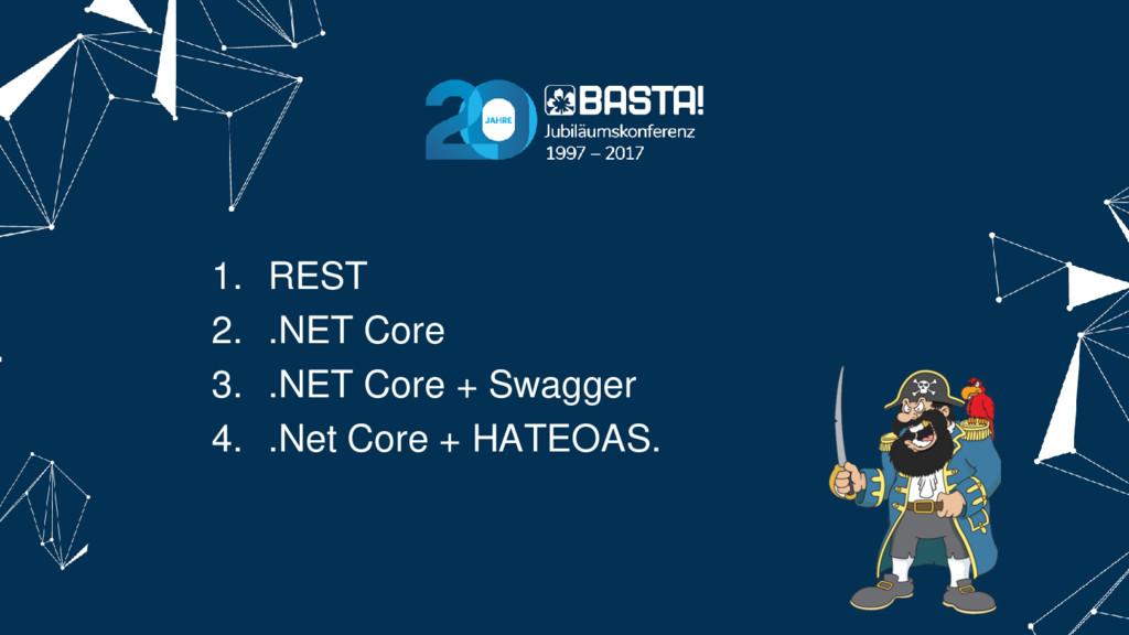 1. REST 2. .NET Core 3. .NET Core + Swagger 4. ...