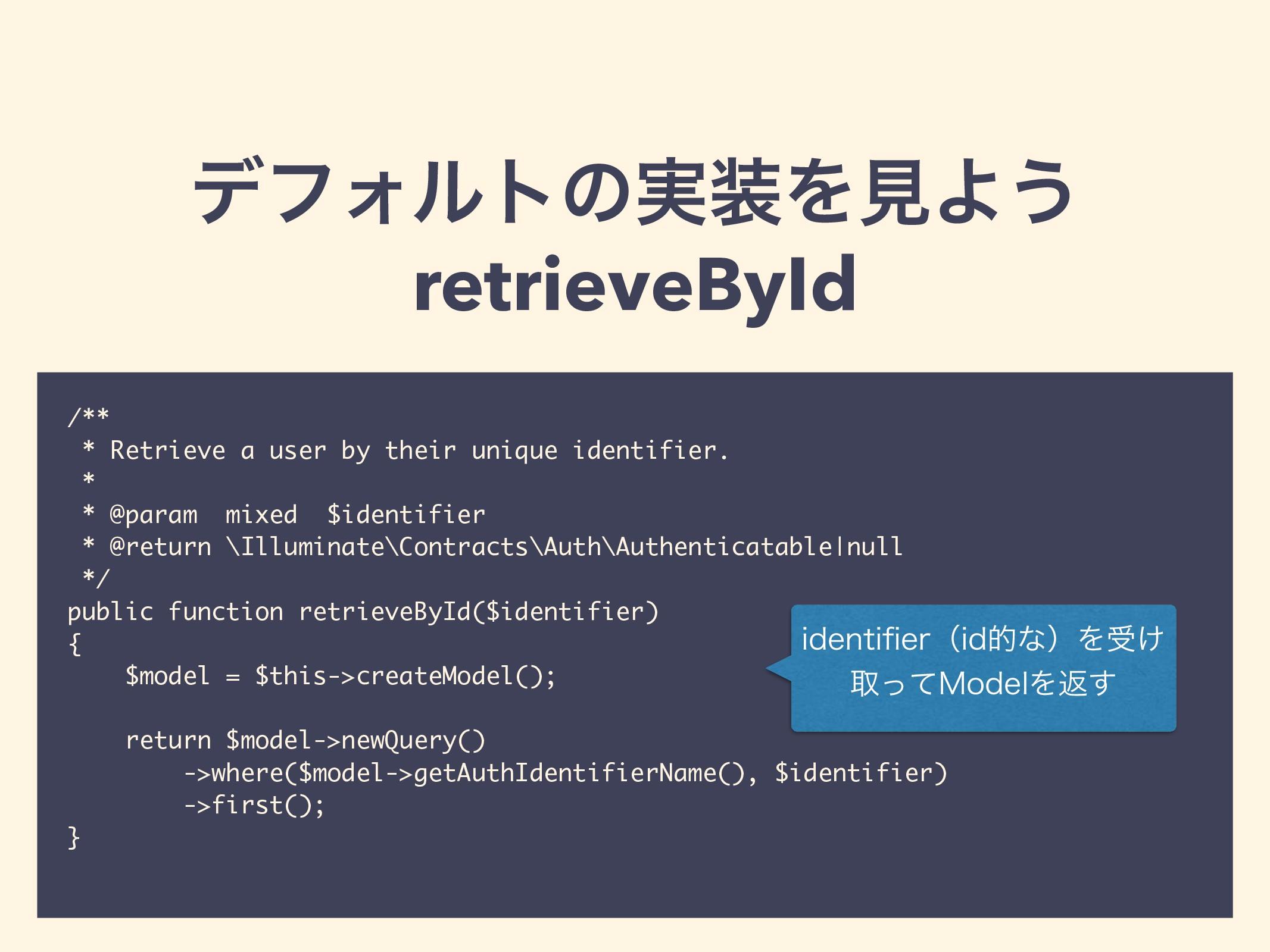 σϑΥϧτͷ࣮ΛݟΑ͏ retrieveById /** * Retrieve a user...
