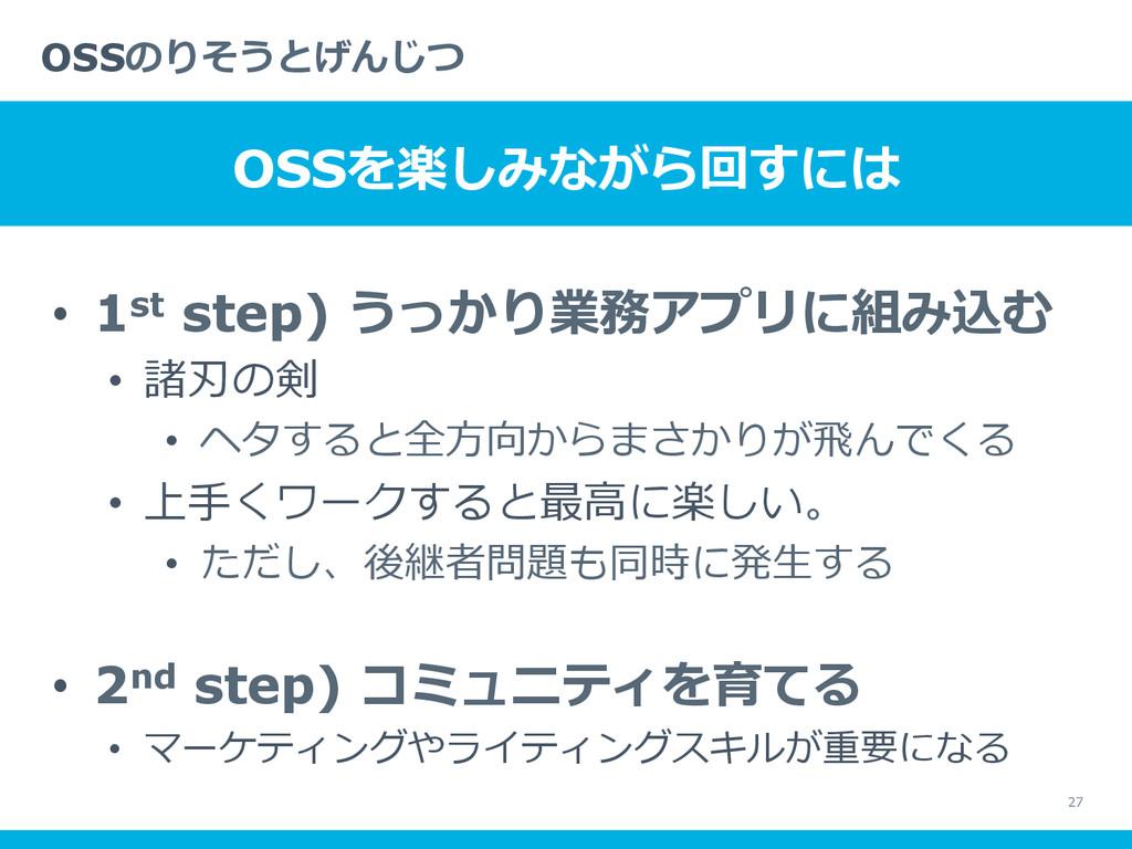 • 1st step) うっかり業務アプリに組み込む • 諸刃の剣 • ヘタすると全⽅方...