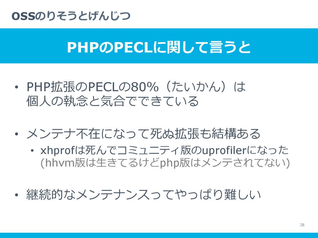 • PHP拡張のPECLの80%(たいかん)は 個⼈人の執念念と気合でできている • メン...