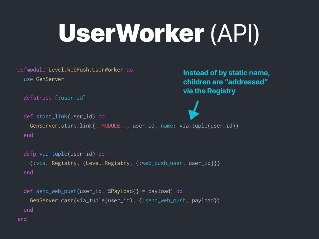 UserWorker (API) defmodule Level.WebPush.UserWo...