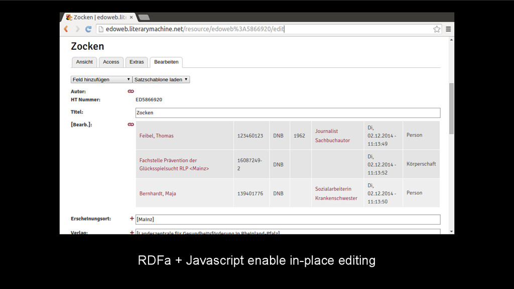 RDFa + Javascript enable in-place editing