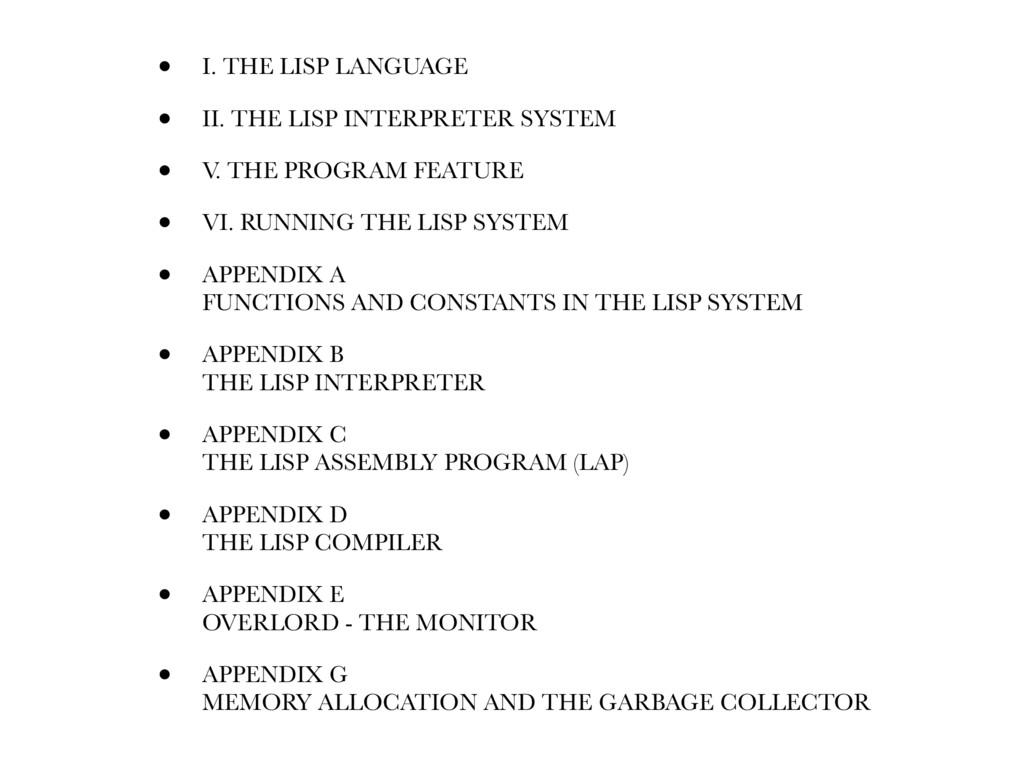 • I. THE LISP LANGUAGE • II. THE LISP INTERPRET...
