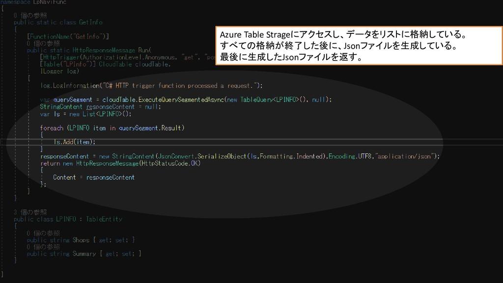 Jsonを生成するコード Azure Table Strageにアクセスし、データをリストに格...
