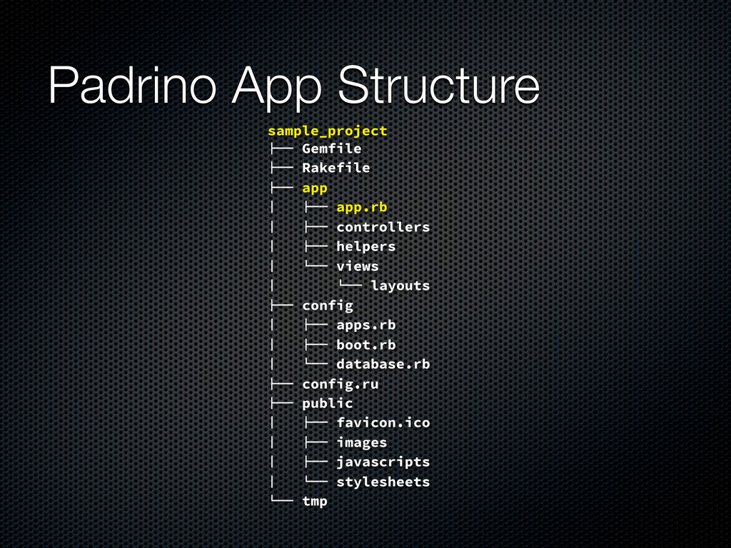 "Padrino App Structure sample_project !"""" Gemfil..."