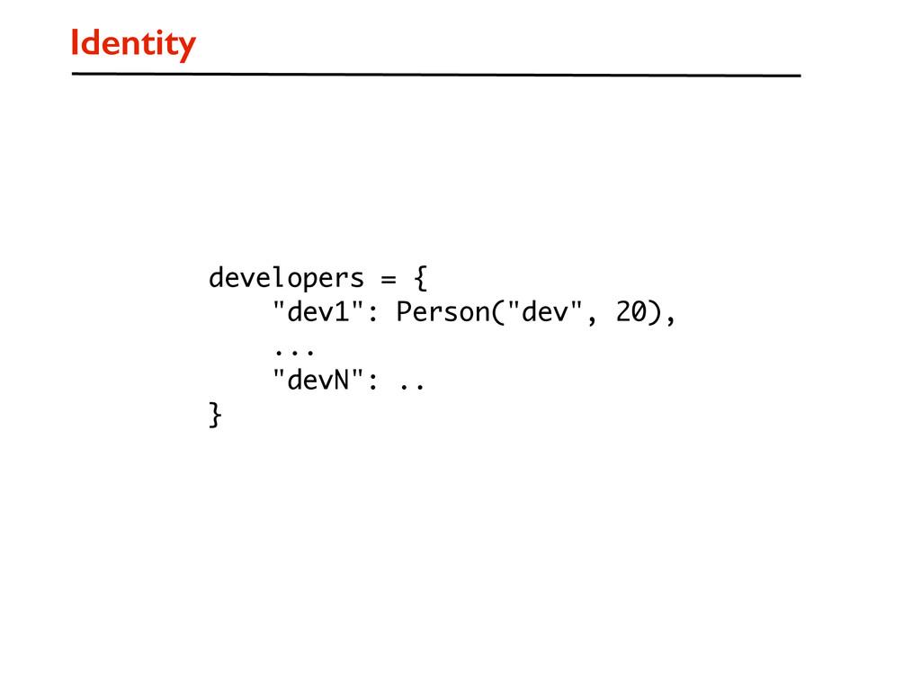 """Identity developers = { """"dev1"""": Person(""""dev"""", 2..."""