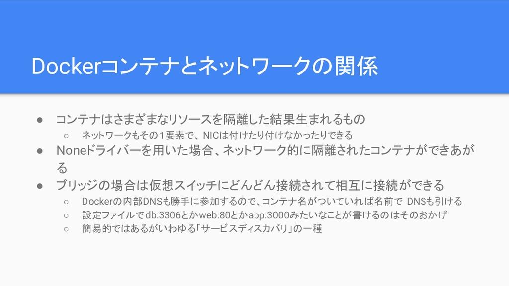 Dockerコンテナとネットワークの関係 ● コンテナはさまざまなリソースを隔離した結果生まれ...