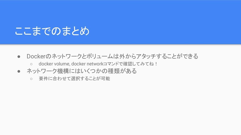 ここまでのまとめ ● Dockerのネットワークとボリュームは外からアタッチすることができる ...