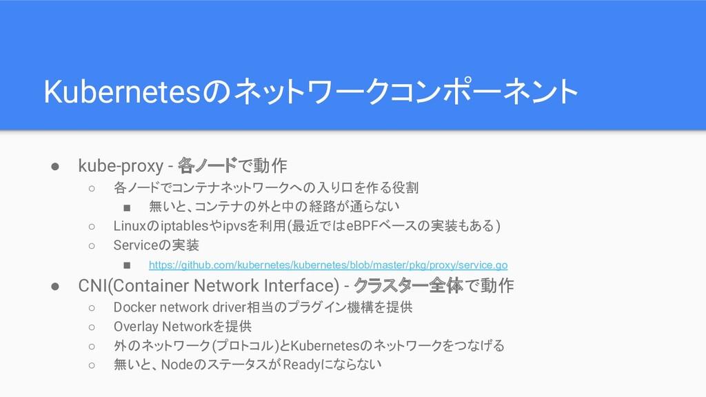 Kubernetesのネットワークコンポーネント ● kube-proxy - 各ノードで動作...