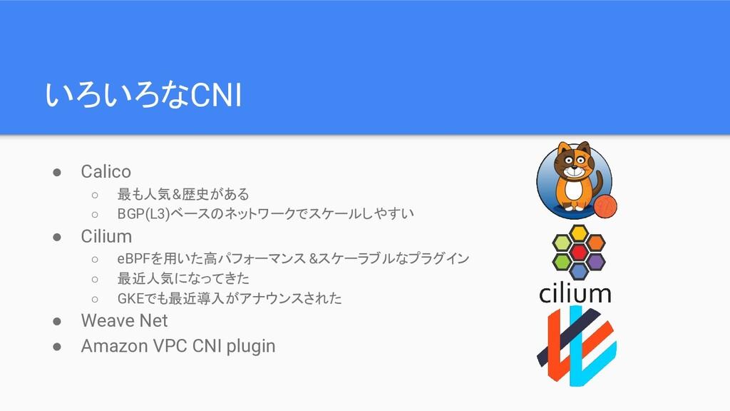いろいろなCNI ● Calico ○ 最も人気&歴史がある ○ BGP(L3)ベースのネット...