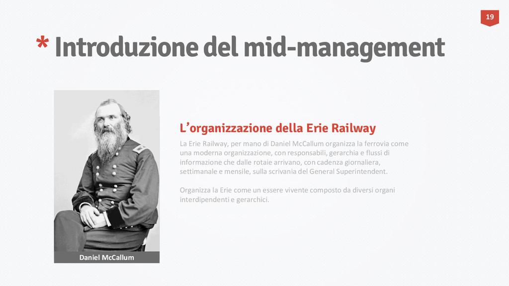 * Introduzione del mid-management Daniel McCall...