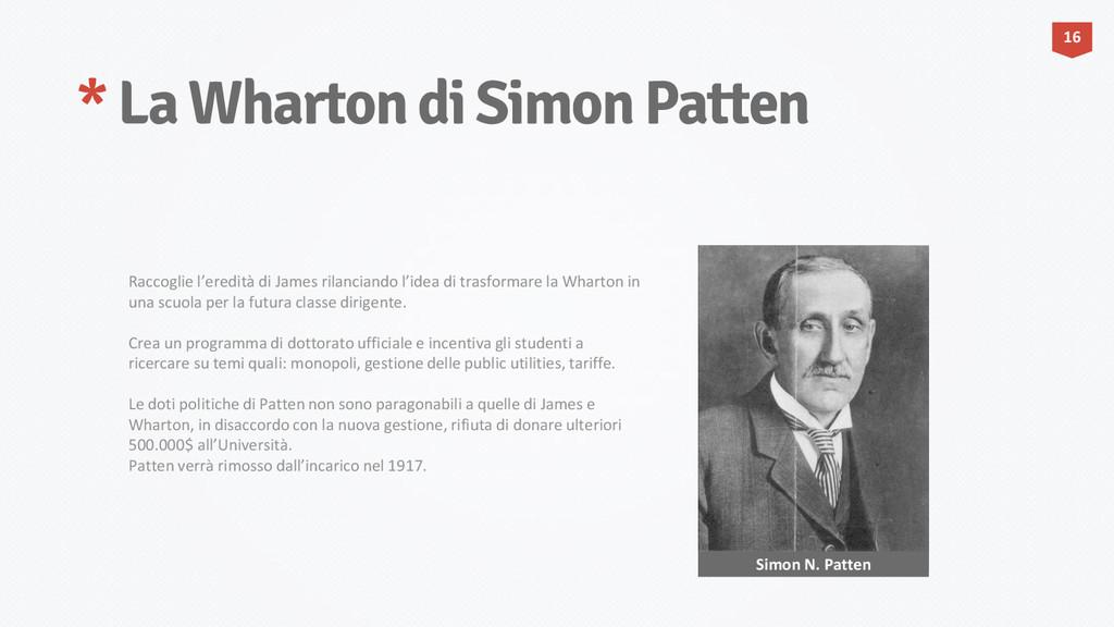 * La Wharton di Simon Patten 16 Simon N. Patten...