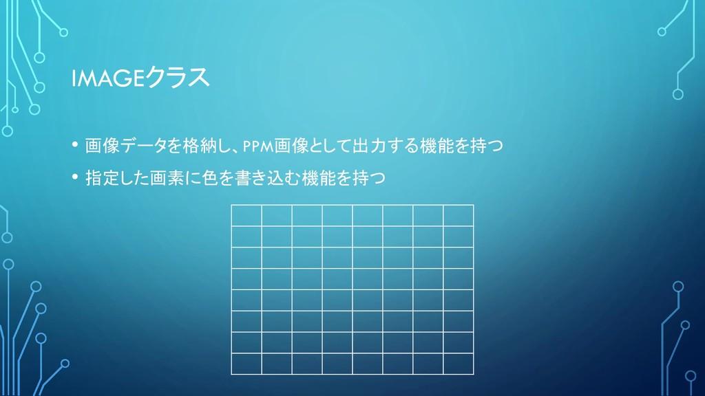 IMAGEクラス • 画像データを格納し、PPM画像として出力する機能を持つ • 指定した画素...
