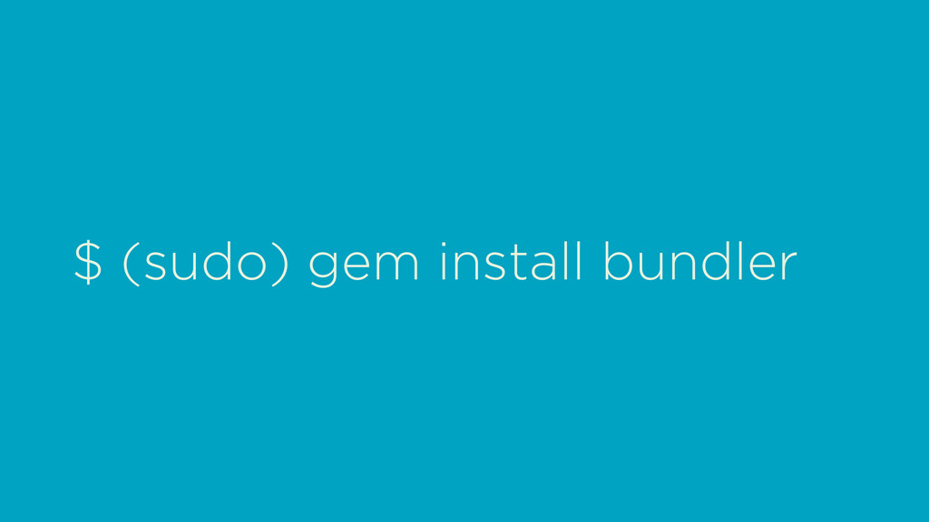 $ (sudo) gem install bundler