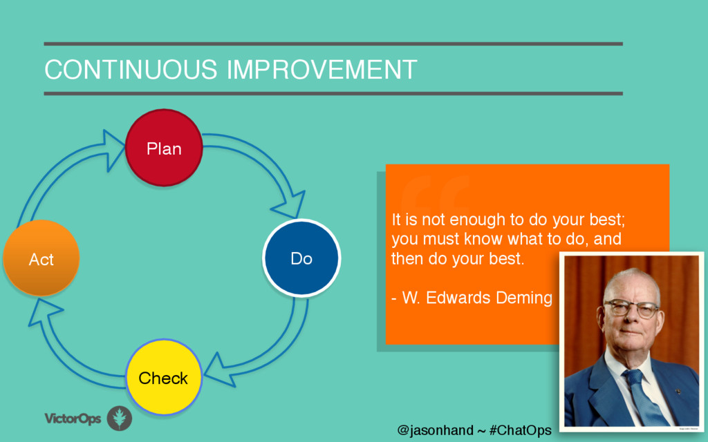 A CONTINUOUS IMPROVEMENT It is not enough to do...
