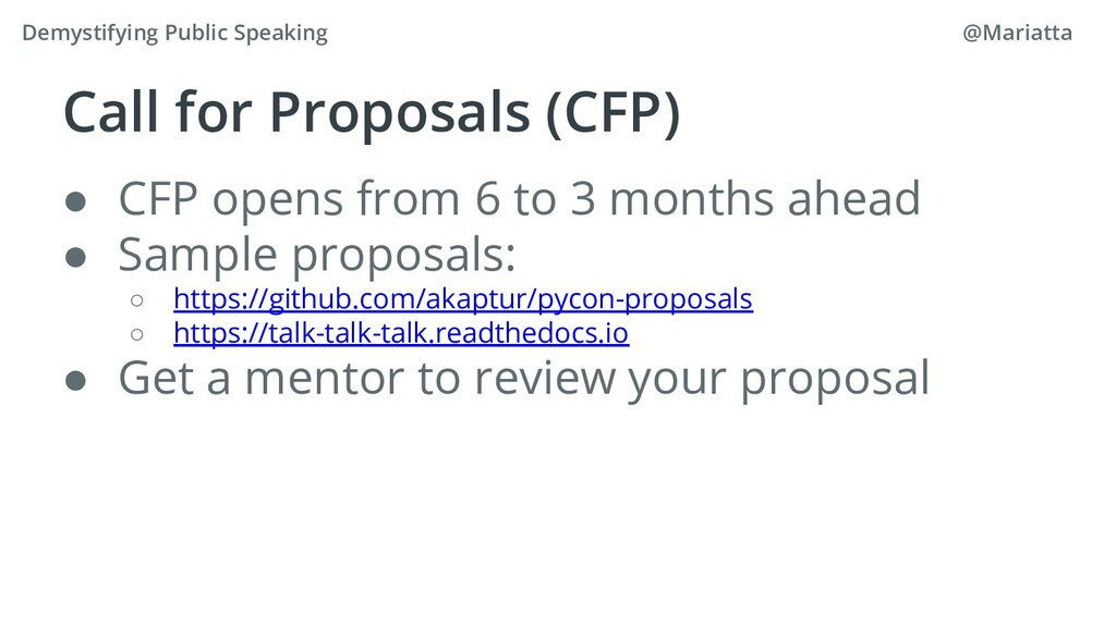 Call for Proposals (CFP) ● CFP opens from 6 to ...