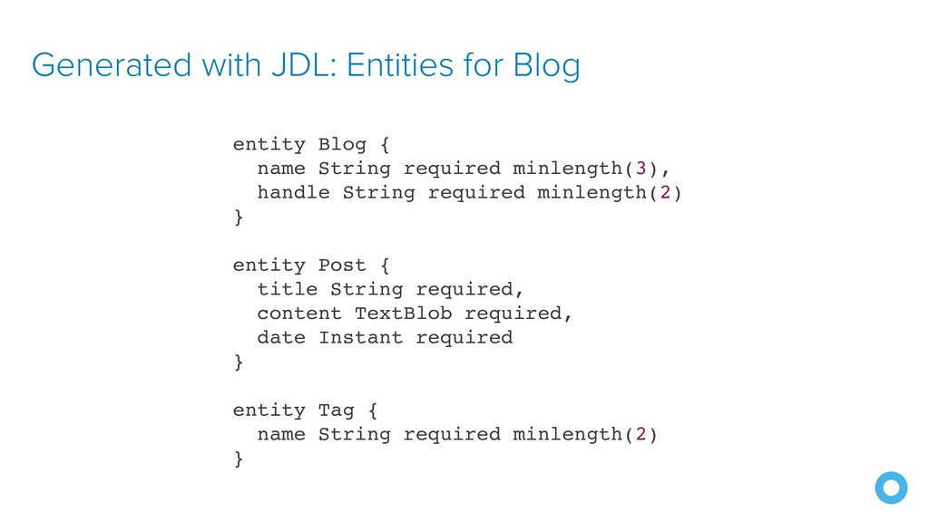 Generated with JDL: Entities for Blog entity Bl...