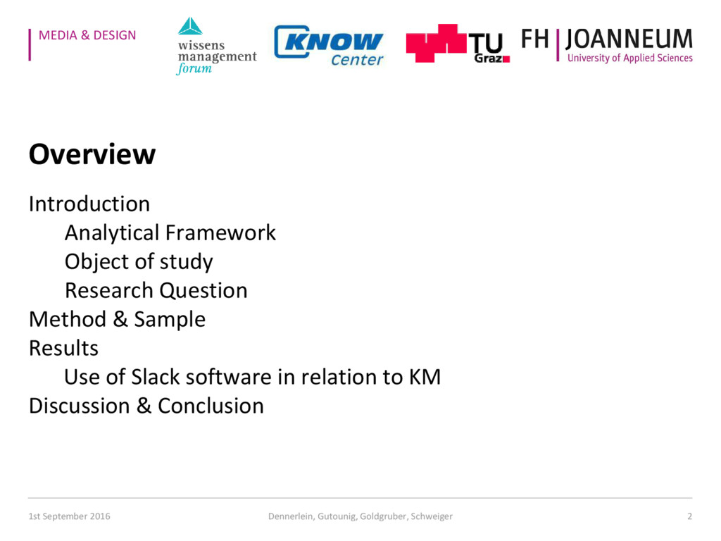 MEDIA & DESIGN Overview Introduction Analytical...