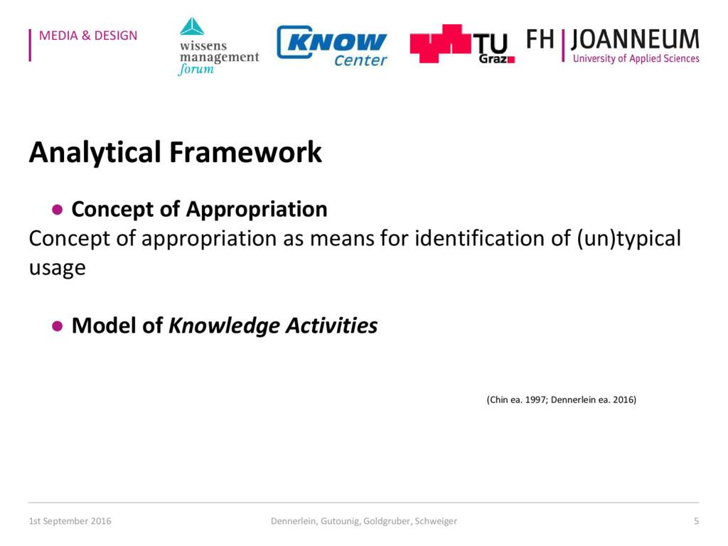 MEDIA & DESIGN Analytical Framework ● Concept o...