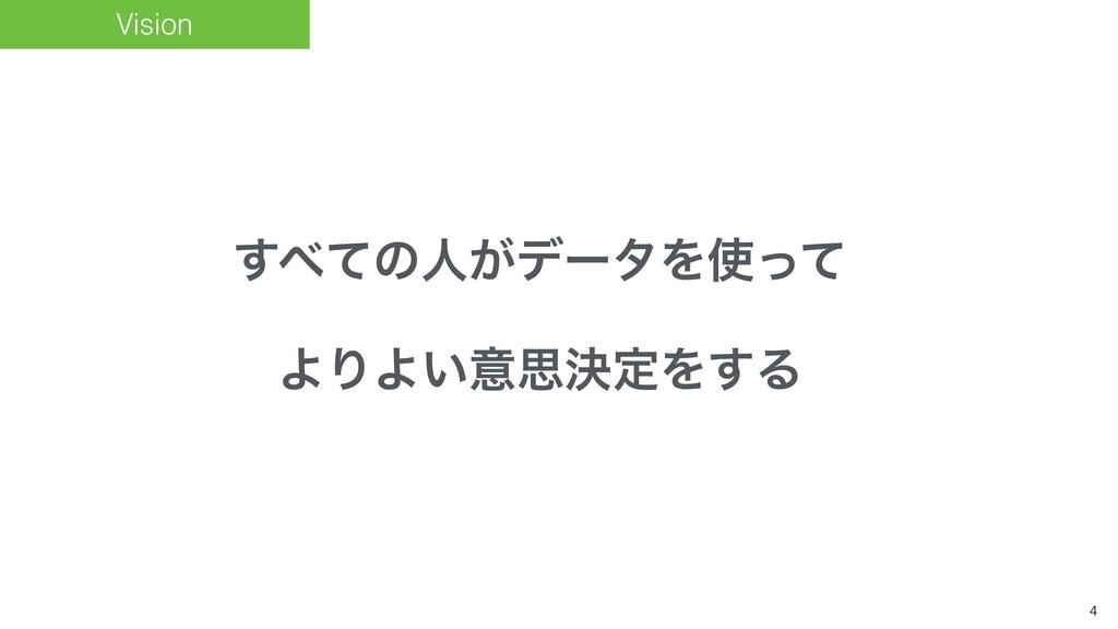 4 Vision ͯ͢ͷਓ͕σʔλΛͬͯ ΑΓΑ͍ҙࢥܾఆΛ͢Δ