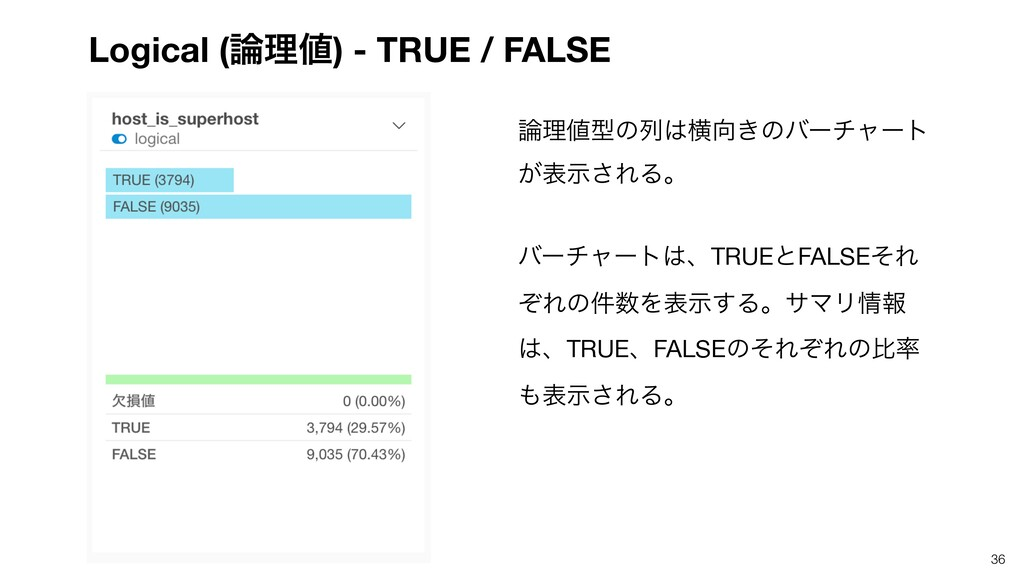 Logical (ཧ) - TRUE / FALSE 36 ཧܕͷྻԣ͖ͷόʔνϟ...