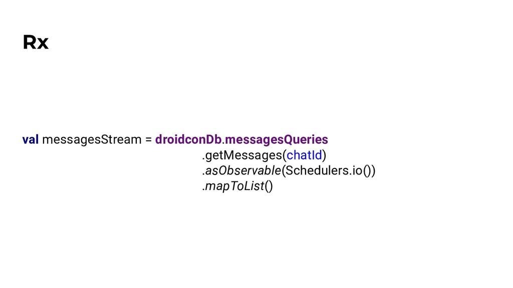 Rx val messagesStream = droidconDb.messagesQuer...