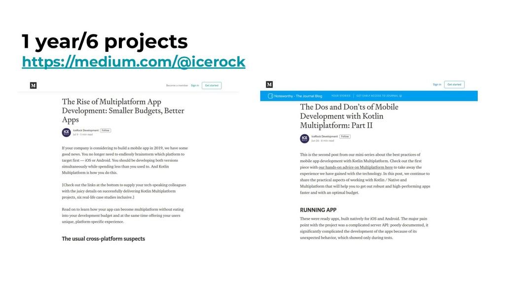 1 year/6 projects https://medium.com/@icerock