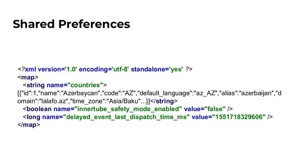 Shared Preferences <?xml version='1.0' encoding...