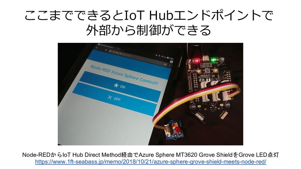 ここまでできるとIoT Hubエンドポイントで 外部から制御ができる Node-REDからIo...