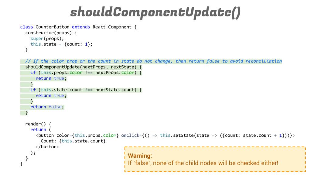 shouldComponentUpdate() class CounterButton ext...