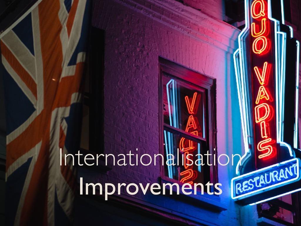 Internationalisation Improvements