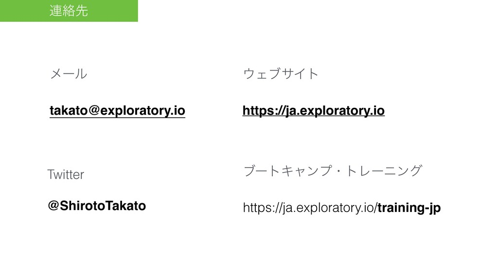 ࿈བྷઌ ϝʔϧ takato@exploratory.io ΣϒαΠτ https://ja...