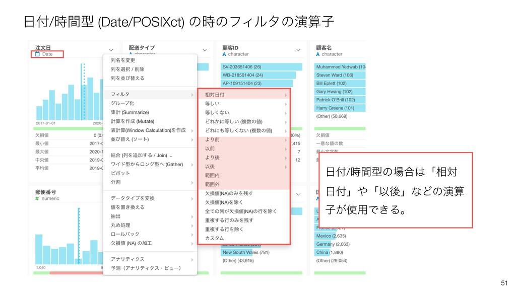 51 /ؒܕ (Date/POSIXct) ͷͷϑΟϧλͷԋࢠ /ؒܕͷ߹...