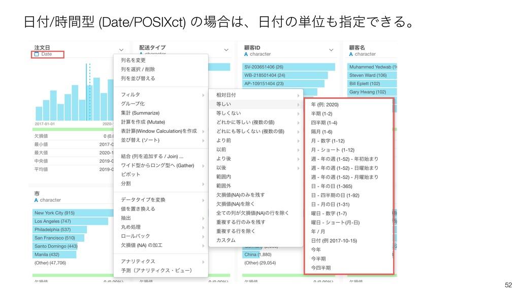 52 /ؒܕ (Date/POSIXct) ͷ߹ɺͷ୯ҐࢦఆͰ͖Δɻ