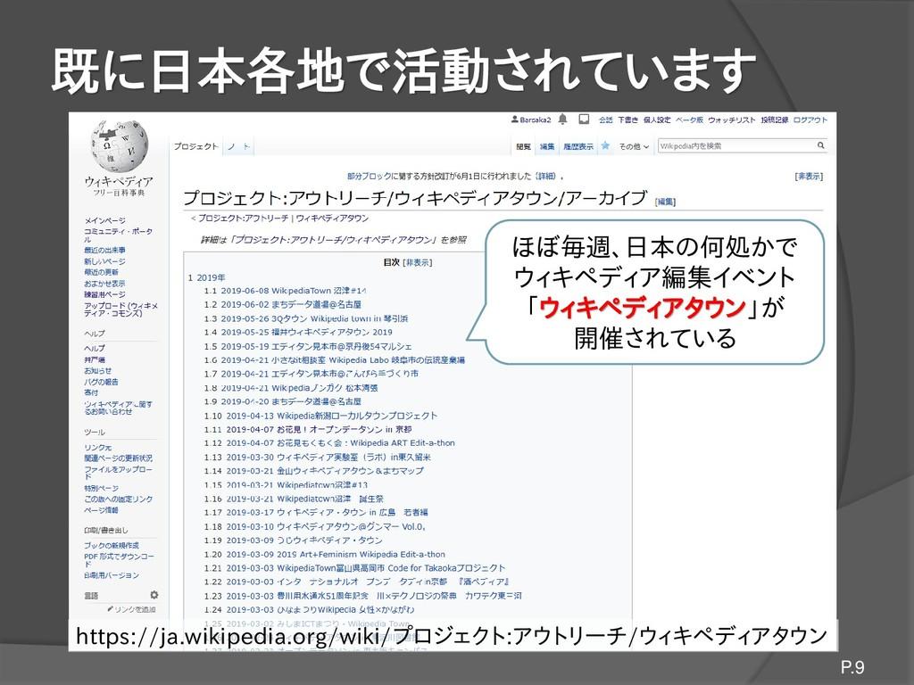 既に日本各地で活動されています P.9 ほぼ毎週、日本の何処かで ウィキペディア編集イベント ...