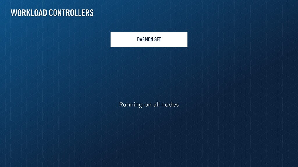 DAEMON SET Running on all nodes WORKLOAD CONTRO...