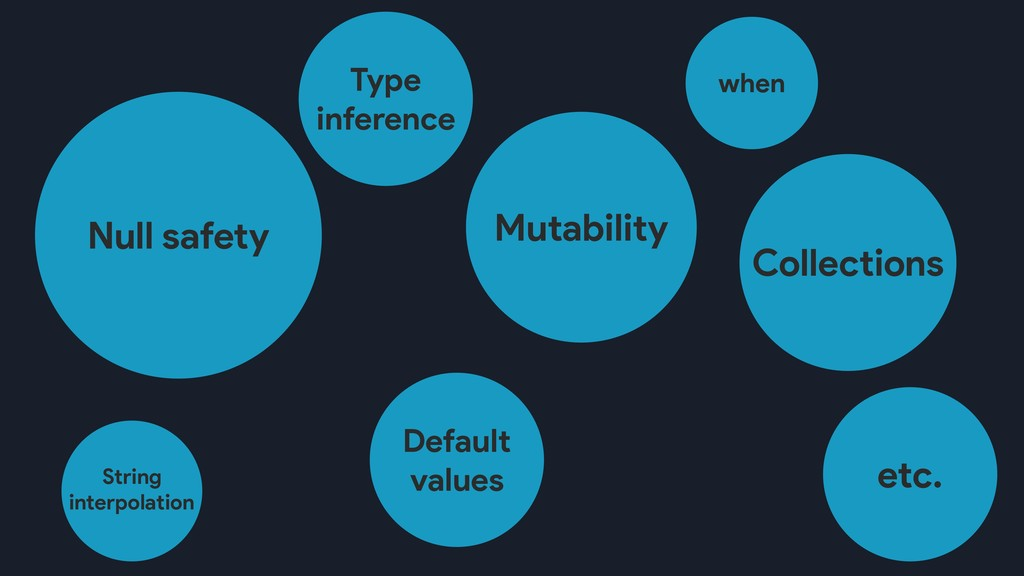 Mutability etc. Null safety Default values Type...