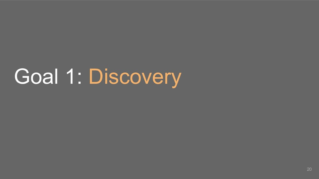 Goal 1: Discovery 20
